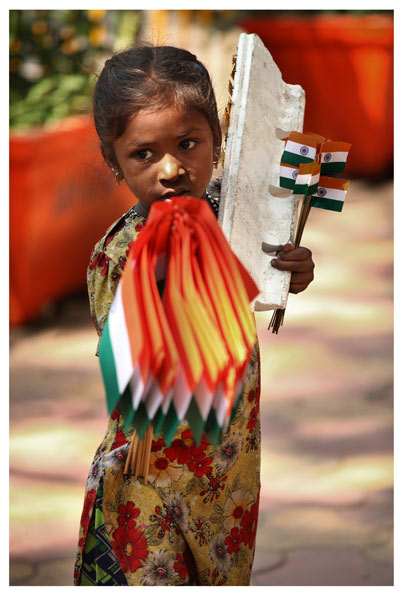 Flag girl, Mumbai, India